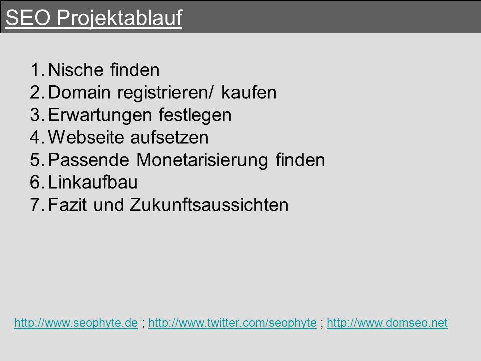 SEO Projektablauf 1.Nische finden 2.Domain registrieren/ kaufen 3.Erwartungen festlegen 4.Webseite aufsetzen 5.Passende Monetarisierung finden 6.Linkaufbau 7.Fazit und Zukunftsaussichten http://www.seophyte.dehttp://www.seophyte.de ; http://www.twitter.com/seophyte ; http://www.domseo.nethttp://www.twitter.com/seophytehttp://www.domseo.net