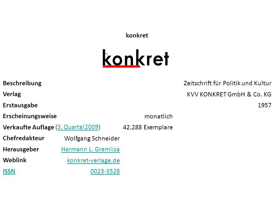 konkret Beschreibung Zeitschrift für Politik und Kultur Verlag KVV KONKRET GmbH & Co. KG Erstausgabe 1957 Erscheinungsweise monatlich Verkaufte Auflag
