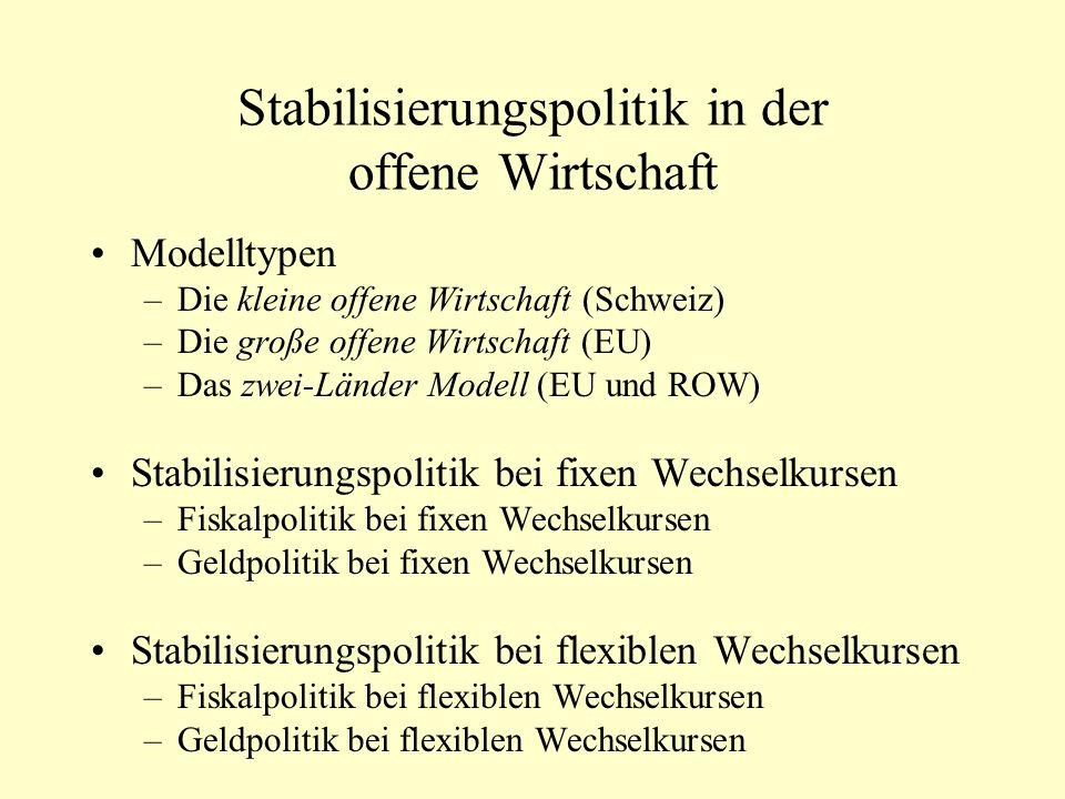 Stabilisierungspolitik in der offene Wirtschaft Modelltypen –Die kleine offene Wirtschaft (Schweiz) –Die große offene Wirtschaft (EU) –Das zwei-Länder