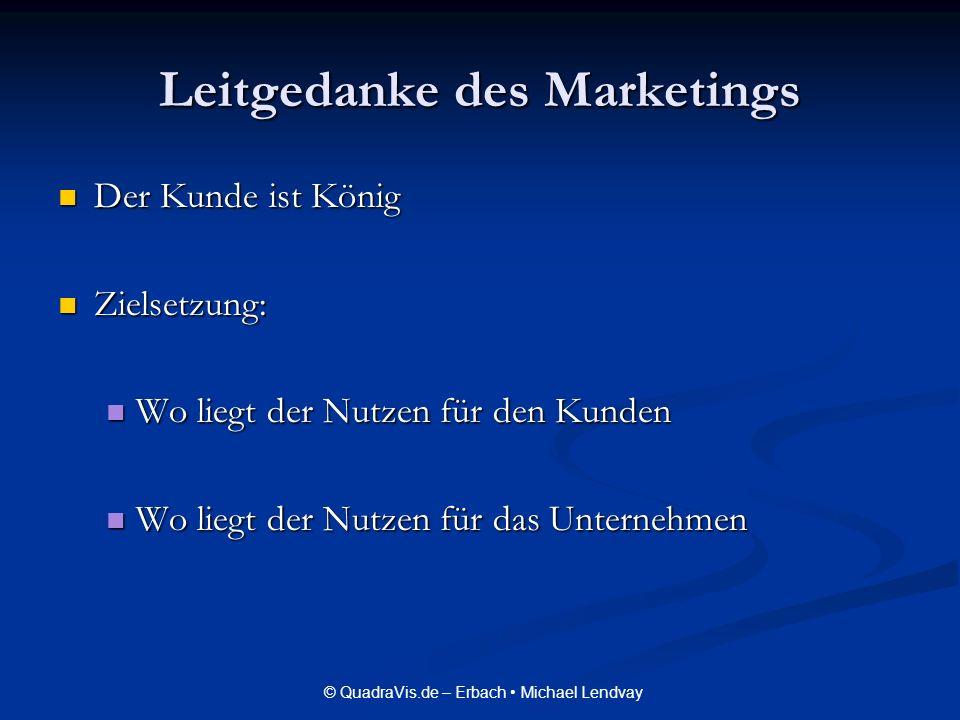 © QuadraVis.de – Erbach Michael Lendvay Leitgedanke des Marketings Der Kunde ist König Der Kunde ist König Zielsetzung: Zielsetzung: Wo liegt der Nutz