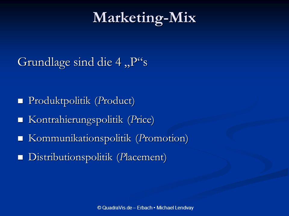 © QuadraVis.de – Erbach Michael Lendvay Marketing-Mix Grundlage sind die 4 Ps Produktpolitik (Product) Produktpolitik (Product) Kontrahierungspolitik