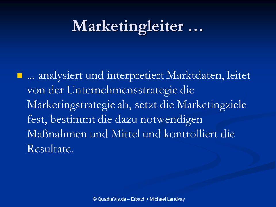 © QuadraVis.de – Erbach Michael Lendvay Marketingleiter …... analysiert und interpretiert Marktdaten, leitet von der Unternehmensstrategie die Marketi
