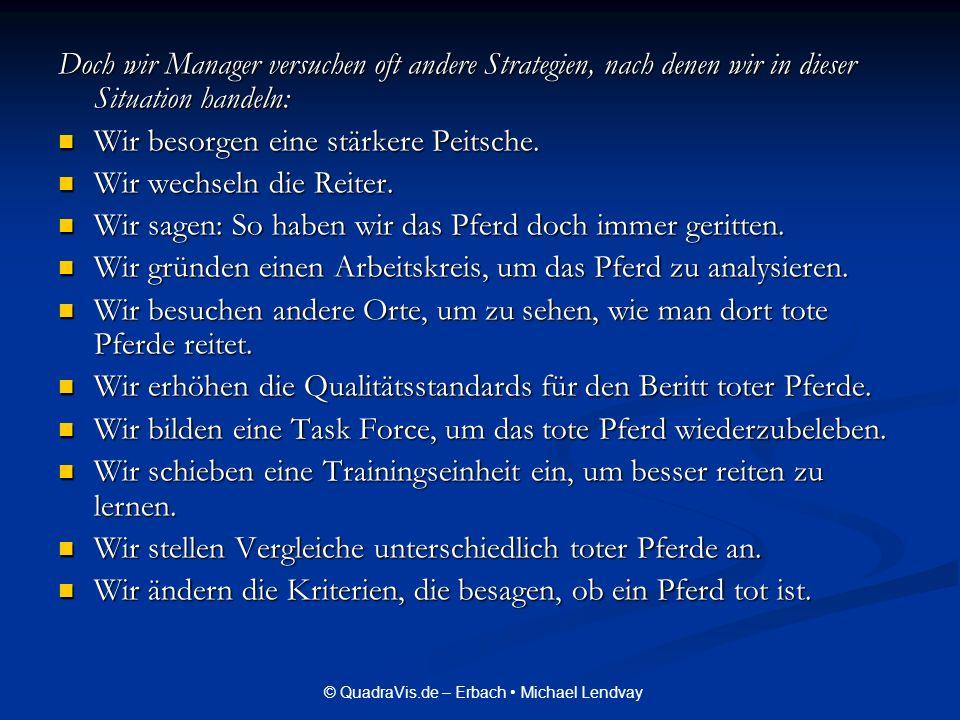 © QuadraVis.de – Erbach Michael Lendvay Doch wir Manager versuchen oft andere Strategien, nach denen wir in dieser Situation handeln: Wir besorgen ein