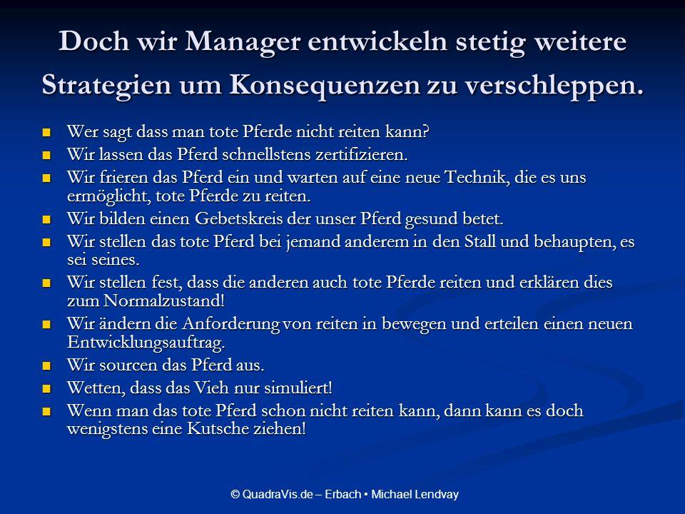 © QuadraVis.de – Erbach Michael Lendvay Doch wir Manager entwickeln stetig weitere Strategien um Konsequenzen zu verschleppen. Wer sagt dass man tote