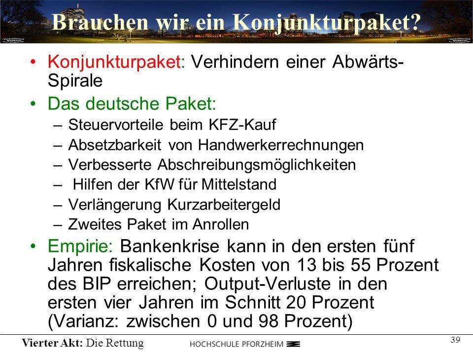 39 Brauchen wir ein Konjunkturpaket? Konjunkturpaket: Verhindern einer Abwärts- Spirale Das deutsche Paket: –Steuervorteile beim KFZ-Kauf –Absetzbarke