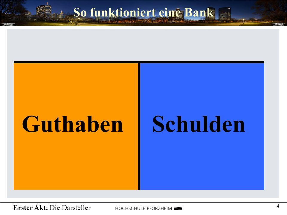 4 So funktioniert eine Bank GuthabenSchulden Erster Akt: Die Darsteller