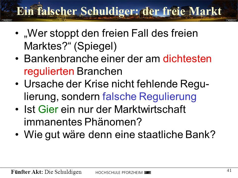 41 Ein falscher Schuldiger: der freie Markt Wer stoppt den freien Fall des freien Marktes? (Spiegel) Bankenbranche einer der am dichtesten regulierten
