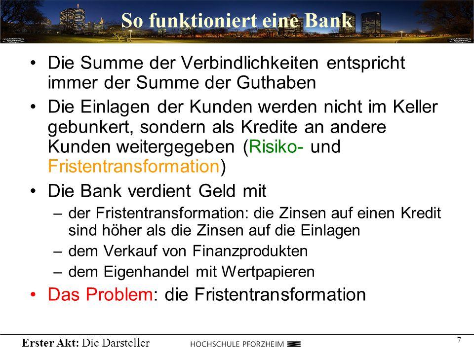 7 So funktioniert eine Bank Die Summe der Verbindlichkeiten entspricht immer der Summe der Guthaben Die Einlagen der Kunden werden nicht im Keller geb