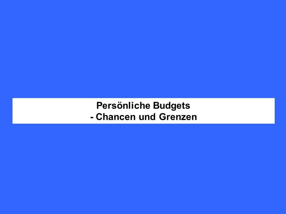 Behinderte Menschen erhalten einen bedarfsbezogenen Geldbetrag, mit dem sie selbst über behinderungsbedingte Unterstützungsleistungen entscheiden und finanzieren sol- len.