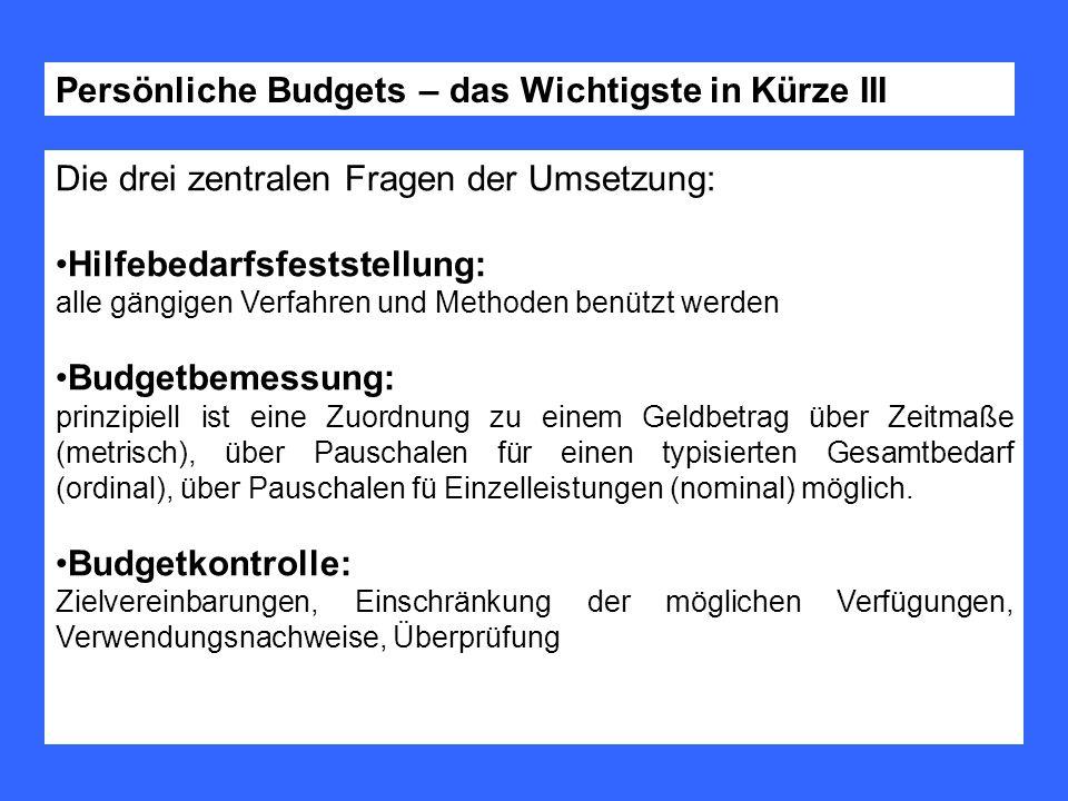 Die drei zentralen Fragen der Umsetzung: Hilfebedarfsfeststellung: alle gängigen Verfahren und Methoden benützt werden Budgetbemessung: prinzipiell is
