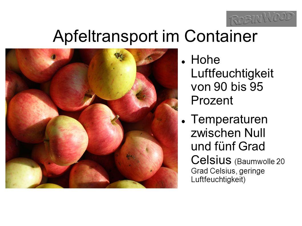 Apfeltransport im Container Hohe Luftfeuchtigkeit von 90 bis 95 Prozent Temperaturen zwischen Null und fünf Grad Celsius (Baumwolle 20 Grad Celsius, geringe Luftfeuchtigkeit)