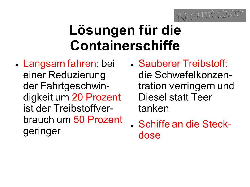 Lösungen für die Containerschiffe Langsam fahren: bei einer Reduzierung der Fahrtgeschwin- digkeit um 20 Prozent ist der Treibstoffver- brauch um 50 Prozent geringer Sauberer Treibstoff: die Schwefelkonzen- tration verringern und Diesel statt Teer tanken Schiffe an die Steck- dose