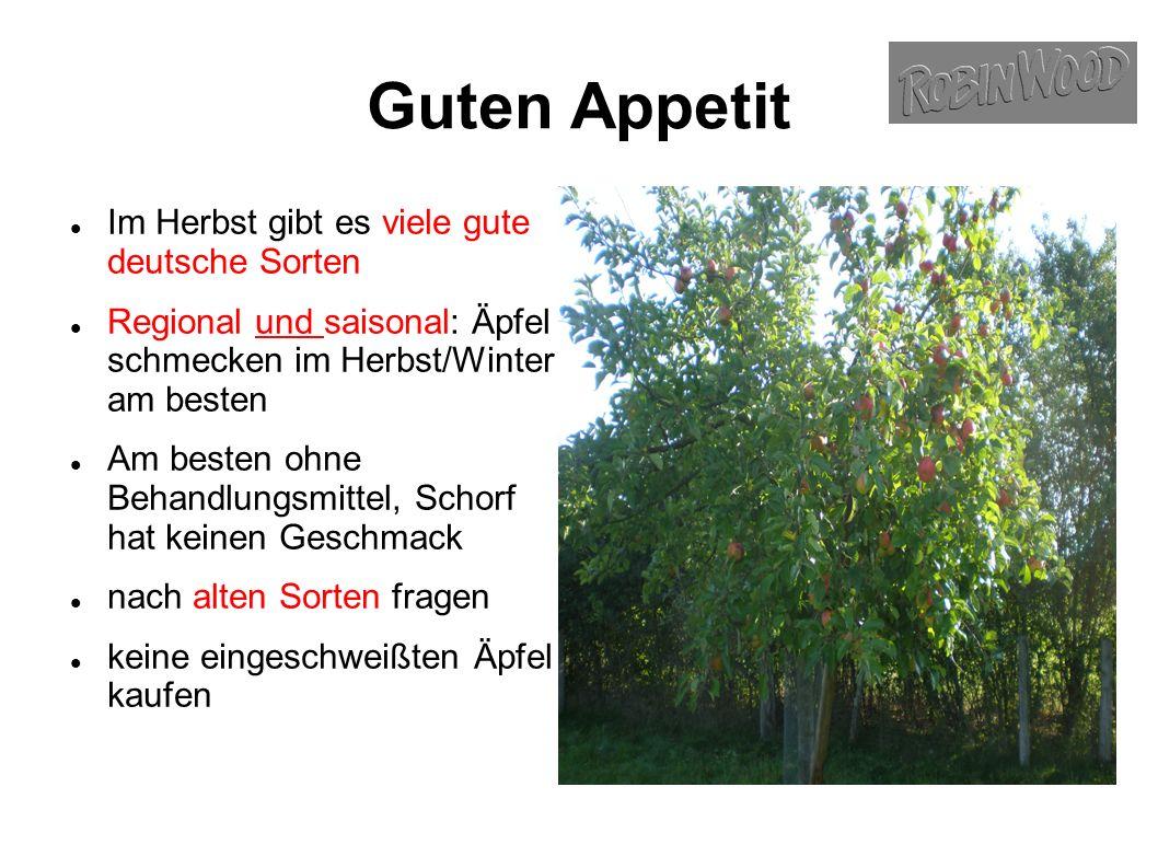 Guten Appetit Im Herbst gibt es viele gute deutsche Sorten Regional und saisonal: Äpfel schmecken im Herbst/Winter am besten Am besten ohne Behandlungsmittel, Schorf hat keinen Geschmack nach alten Sorten fragen keine eingeschweißten Äpfel kaufen