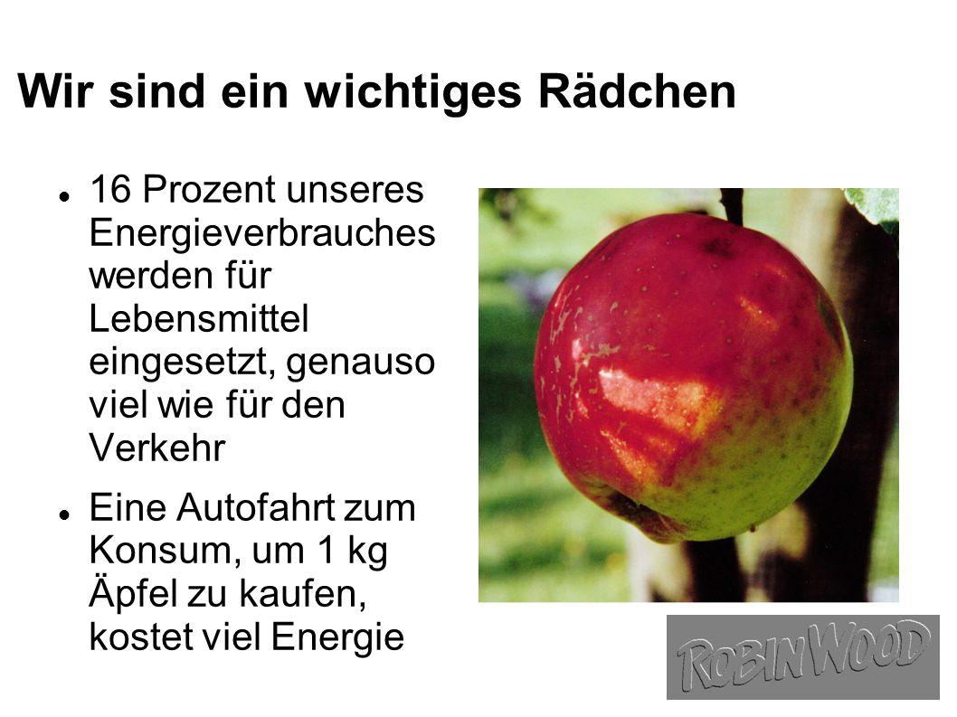 Wir sind ein wichtiges Rädchen 16 Prozent unseres Energieverbrauches werden für Lebensmittel eingesetzt, genauso viel wie für den Verkehr Eine Autofahrt zum Konsum, um 1 kg Äpfel zu kaufen, kostet viel Energie