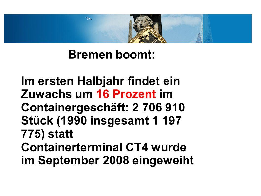Bremen boomt: Im ersten Halbjahr findet ein Zuwachs um 16 Prozent im Containergeschäft: 2 706 910 Stück (1990 insgesamt 1 197 775) statt Containerterminal CT4 wurde im September 2008 eingeweiht