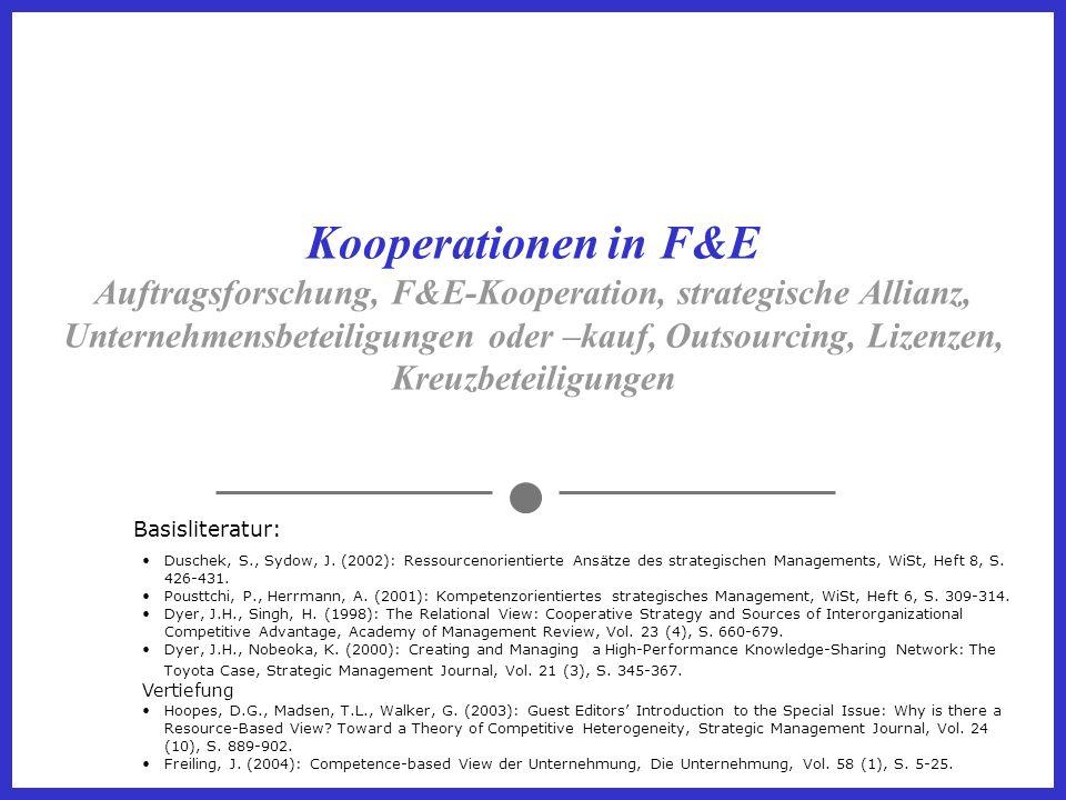 Kooperationen in F&E Auftragsforschung, F&E-Kooperation, strategische Allianz, Unternehmensbeteiligungen oder –kauf, Outsourcing, Lizenzen, Kreuzbeteiligungen Basisliteratur: Duschek, S., Sydow, J.