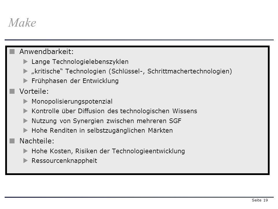 Seite 19 Make Anwendbarkeit: Lange Technologielebenszyklen kritische Technologien (Schlüssel-, Schrittmachertechnologien) Frühphasen der Entwicklung V