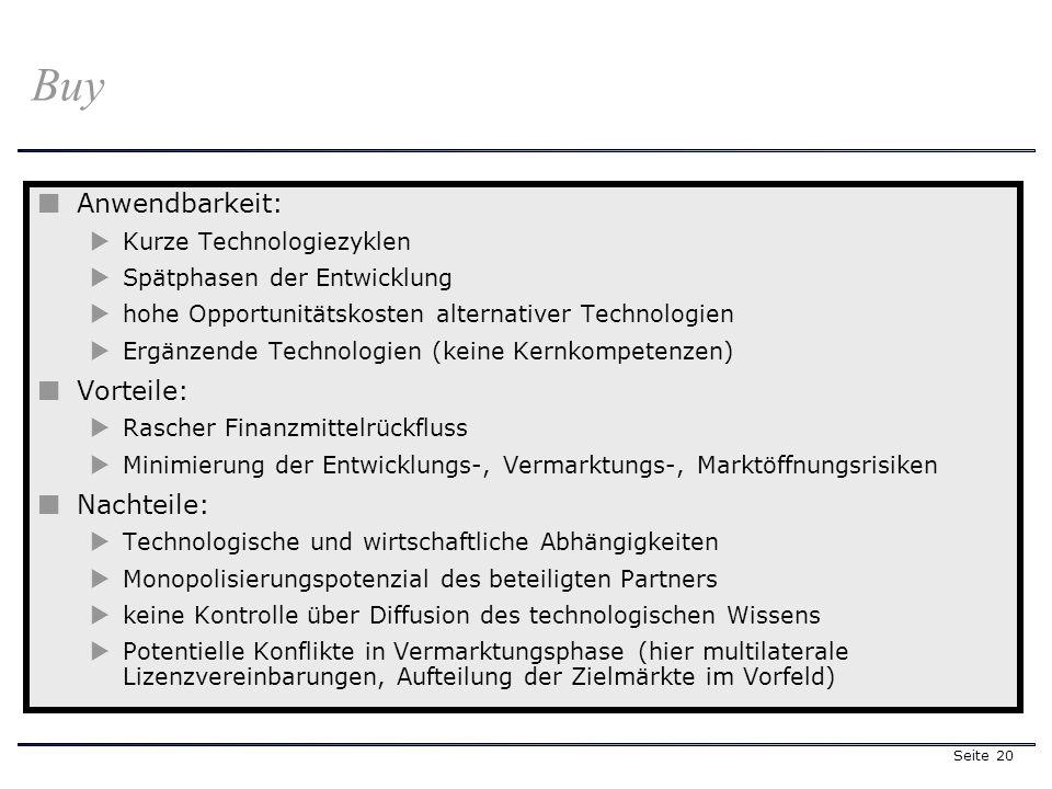 Seite 20 Anwendbarkeit: Kurze Technologiezyklen Spätphasen der Entwicklung hohe Opportunitätskosten alternativer Technologien Ergänzende Technologien (keine Kernkompetenzen) Vorteile: Rascher Finanzmittelrückfluss Minimierung der Entwicklungs-, Vermarktungs-, Marktöffnungsrisiken Nachteile: Technologische und wirtschaftliche Abhängigkeiten Monopolisierungspotenzial des beteiligten Partners keine Kontrolle über Diffusion des technologischen Wissens Potentielle Konflikte in Vermarktungsphase (hier multilaterale Lizenzvereinbarungen, Aufteilung der Zielmärkte im Vorfeld) Buy