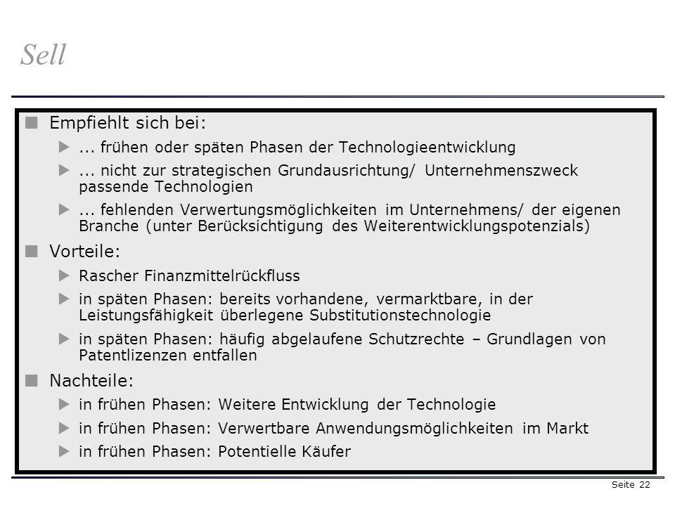 Seite 22 Sell Empfiehlt sich bei:... frühen oder späten Phasen der Technologieentwicklung... nicht zur strategischen Grundausrichtung/ Unternehmenszwe
