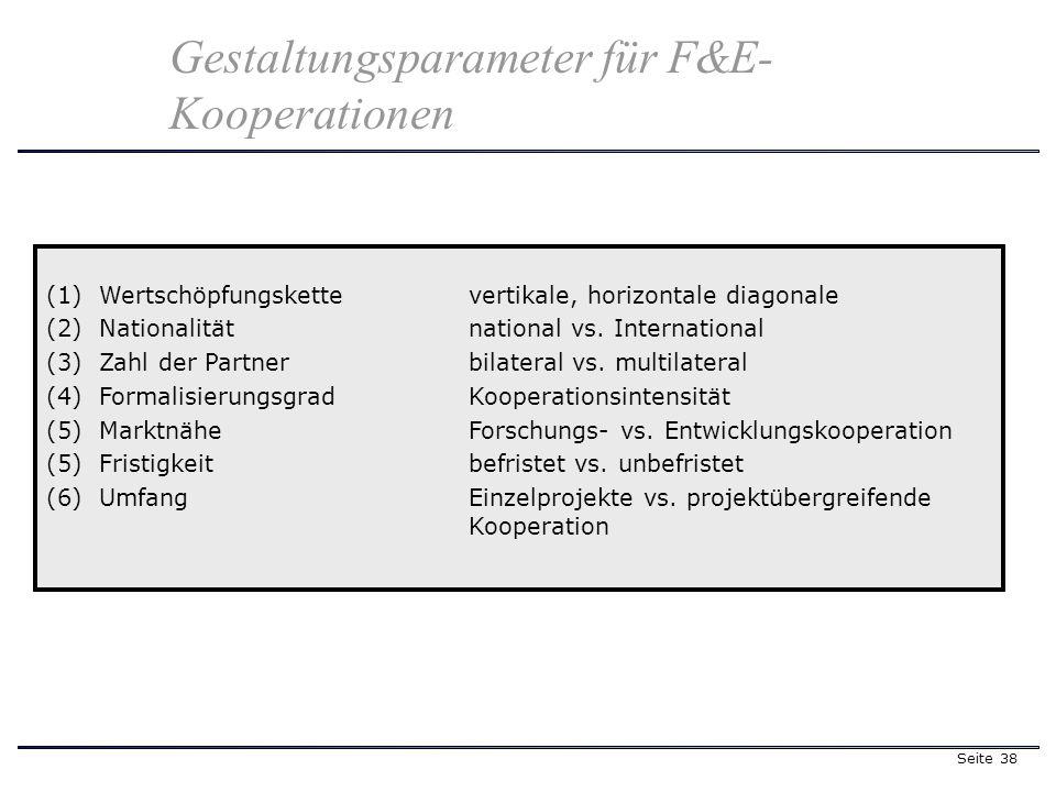 Seite 38 Gestaltungsparameter für F&E- Kooperationen (1)Wertschöpfungskettevertikale, horizontale diagonale (2)Nationalität national vs. International