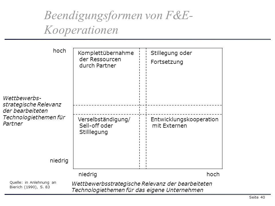 Seite 40 Komplettübernahme der Ressourcen durch Partner Stillegung oder Fortsetzung Verselbständigung/ Sell-off oder Stilllegung Entwicklungskooperati