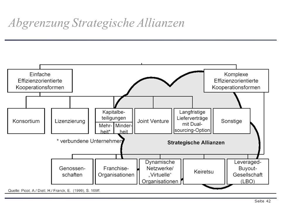 Seite 42 Abgrenzung Strategische Allianzen