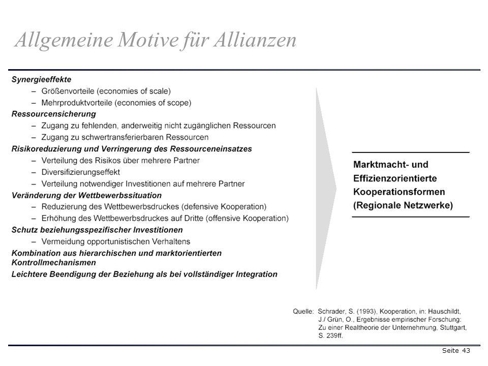 Seite 43 Allgemeine Motive für Allianzen