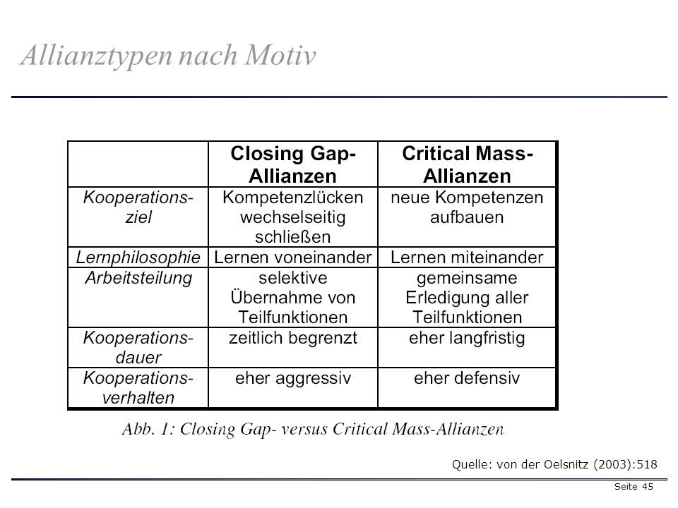 Seite 45 Allianztypen nach Motiv Quelle: von der Oelsnitz (2003):518