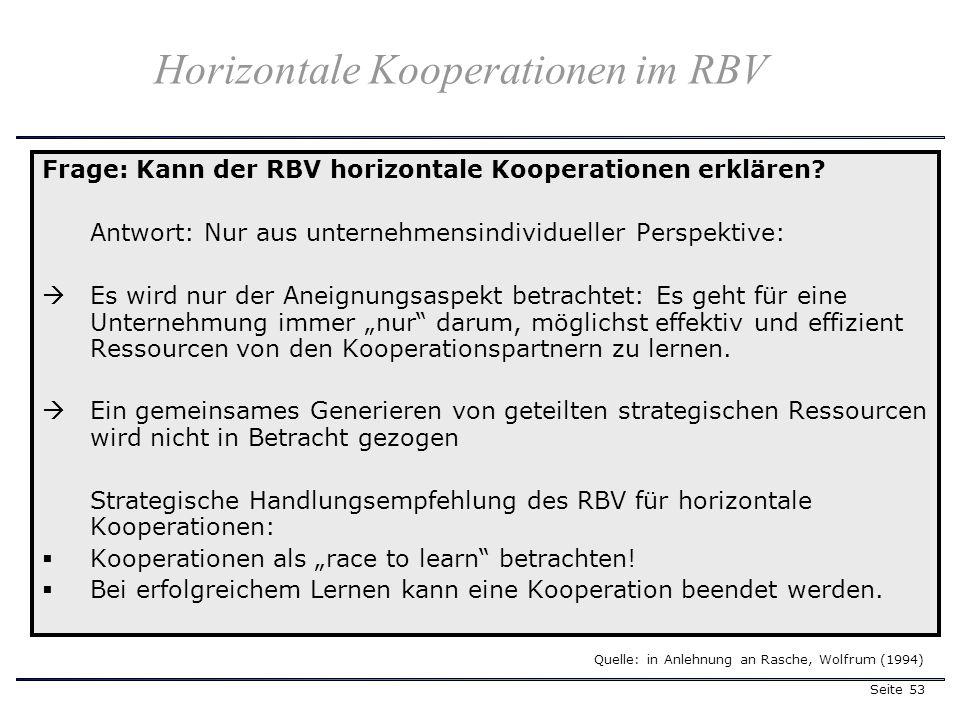 Seite 53 Horizontale Kooperationen im RBV Frage: Kann der RBV horizontale Kooperationen erklären? Antwort: Nur aus unternehmensindividueller Perspekti