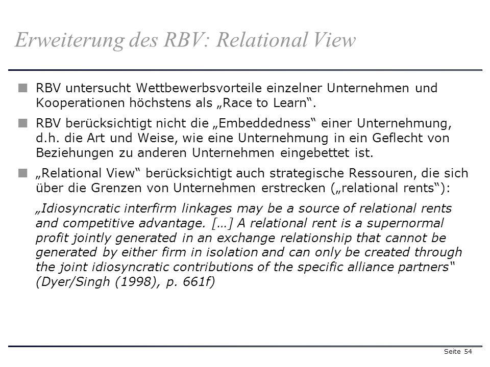 Seite 54 Erweiterung des RBV: Relational View RBV untersucht Wettbewerbsvorteile einzelner Unternehmen und Kooperationen höchstens als Race to Learn.