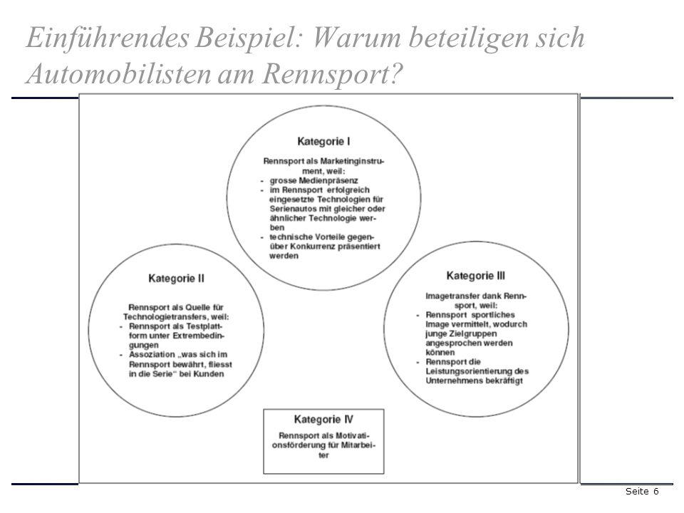 Seite 6 Einführendes Beispiel: Warum beteiligen sich Automobilisten am Rennsport