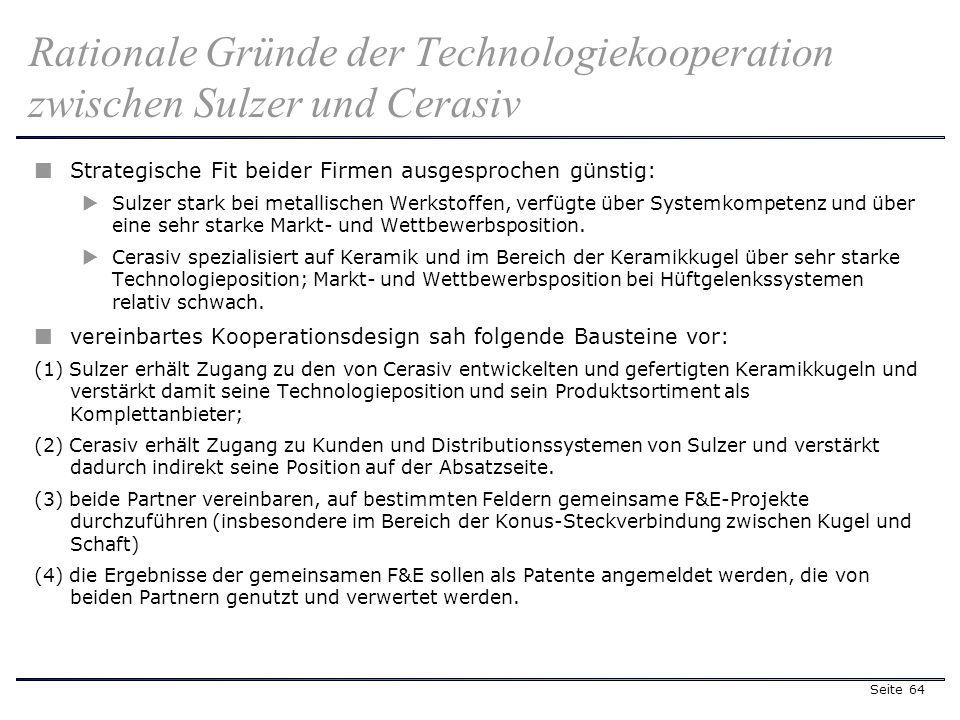 Seite 64 Strategische Fit beider Firmen ausgesprochen günstig: Sulzer stark bei metallischen Werkstoffen, verfügte über Systemkompetenz und über eine