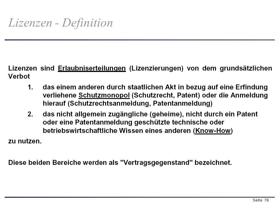 Seite 78 Lizenzen - Definition