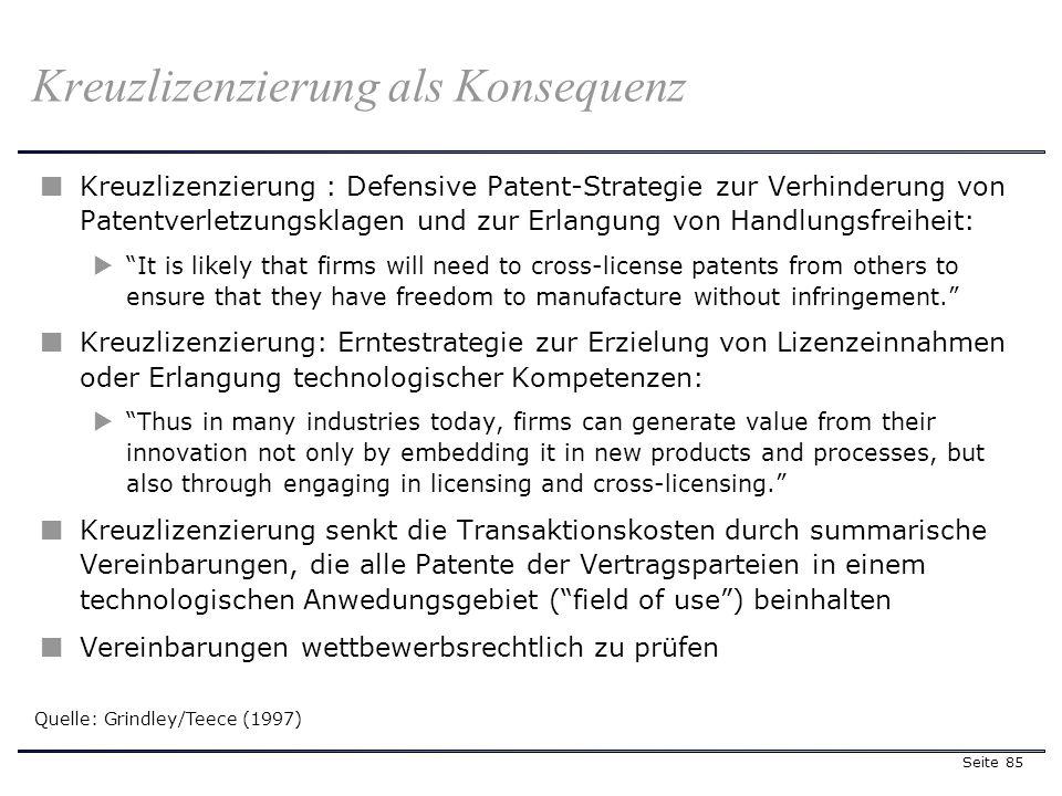 Seite 85 Kreuzlizenzierung als Konsequenz Kreuzlizenzierung : Defensive Patent-Strategie zur Verhinderung von Patentverletzungsklagen und zur Erlangun