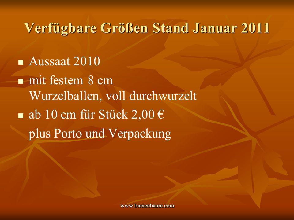 www.bienenbaum.com Verfügbare Größen Stand Januar 2011 Aussaat 2010 mit festem 8 cm Wurzelballen, voll durchwurzelt ab 10 cm für Stück 2,00 plus Porto und Verpackung