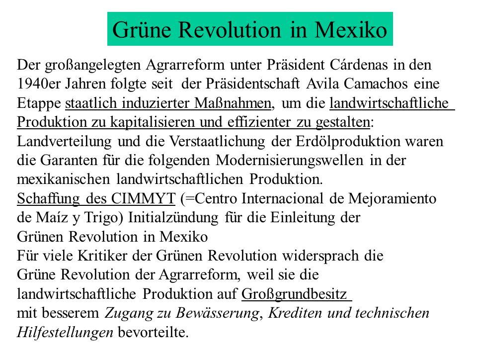 Der großangelegten Agrarreform unter Präsident Cárdenas in den 1940er Jahren folgte seit der Präsidentschaft Avila Camachos eine Etappe staatlich indu