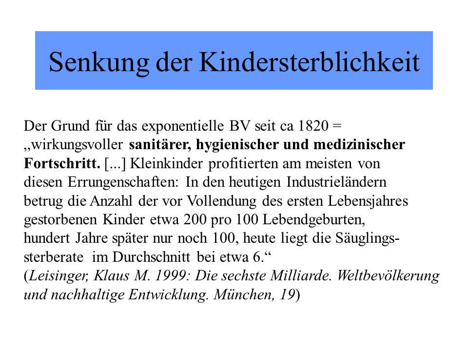 Senkung der Kindersterblichkeit Der Grund für das exponentielle BV seit ca 1820 = wirkungsvoller sanitärer, hygienischer und medizinischer Fortschritt