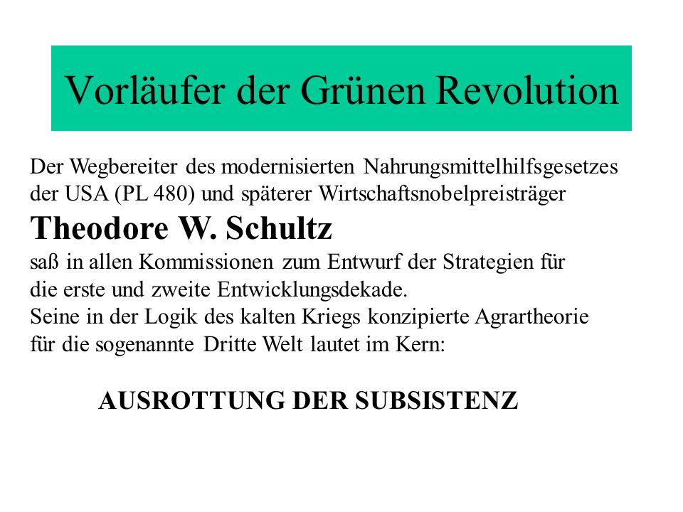 Vorläufer der Grünen Revolution Der Wegbereiter des modernisierten Nahrungsmittelhilfsgesetzes der USA (PL 480) und späterer Wirtschaftsnobelpreisträg