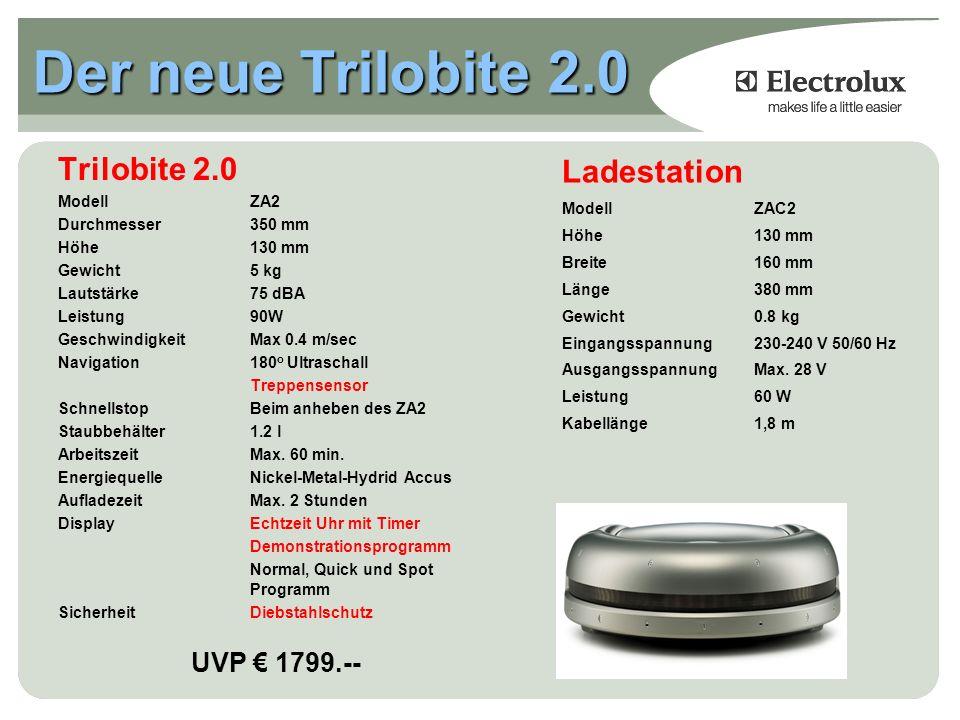 Der neue Trilobite 2.0 Trilobite 2.0 ModellZA2 Durchmesser350 mm Höhe130 mm Gewicht5 kg Lautstärke75 dBA Leistung90W GeschwindigkeitMax 0.4 m/sec Navigation180 o Ultraschall Treppensensor SchnellstopBeim anheben des ZA2 Staubbehälter1.2 l ArbeitszeitMax.