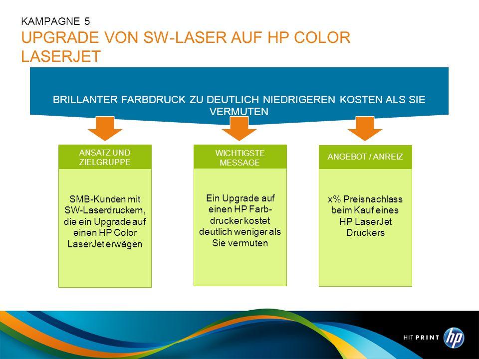 WICHTIGSTE MESSAGE Ein Upgrade auf einen HP Farb- drucker kostet deutlich weniger als Sie vermuten ANSATZ UND ZIELGRUPPE SMB-Kunden mit SW-Laserdrucke