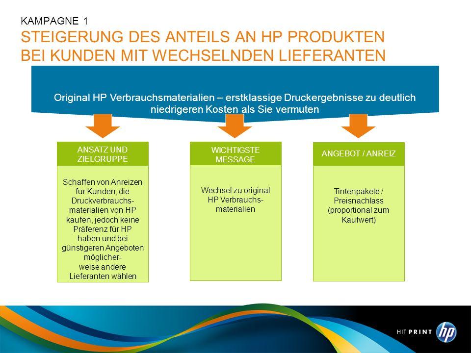 WICHTIGSTE MESSAGE Wechsel zu original HP Verbrauchs- materialien ANSATZ UND ZIELGRUPPE Schaffen von Anreizen für Kunden, die Druckverbrauchs- materia