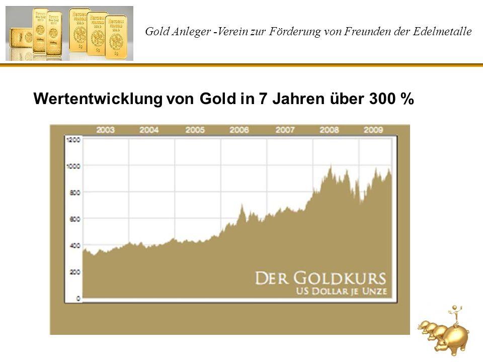 Gold Anleger -Verein zur Förderung von Freunden der Edelmetalle Wertentwicklung von Gold in 7 Jahren über 300 %