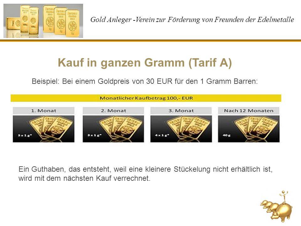 Gold Anleger -Verein zur Förderung von Freunden der Edelmetalle Kauf in ganzen Gramm (Tarif A) Beispiel: Bei einem Goldpreis von 30 EUR für den 1 Gram