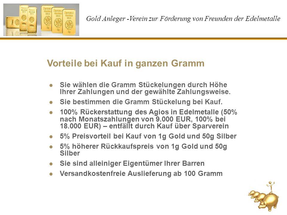 Gold Anleger -Verein zur Förderung von Freunden der Edelmetalle Vorteile bei Kauf in ganzen Gramm Sie wählen die Gramm Stückelungen durch Höhe Ihrer Z