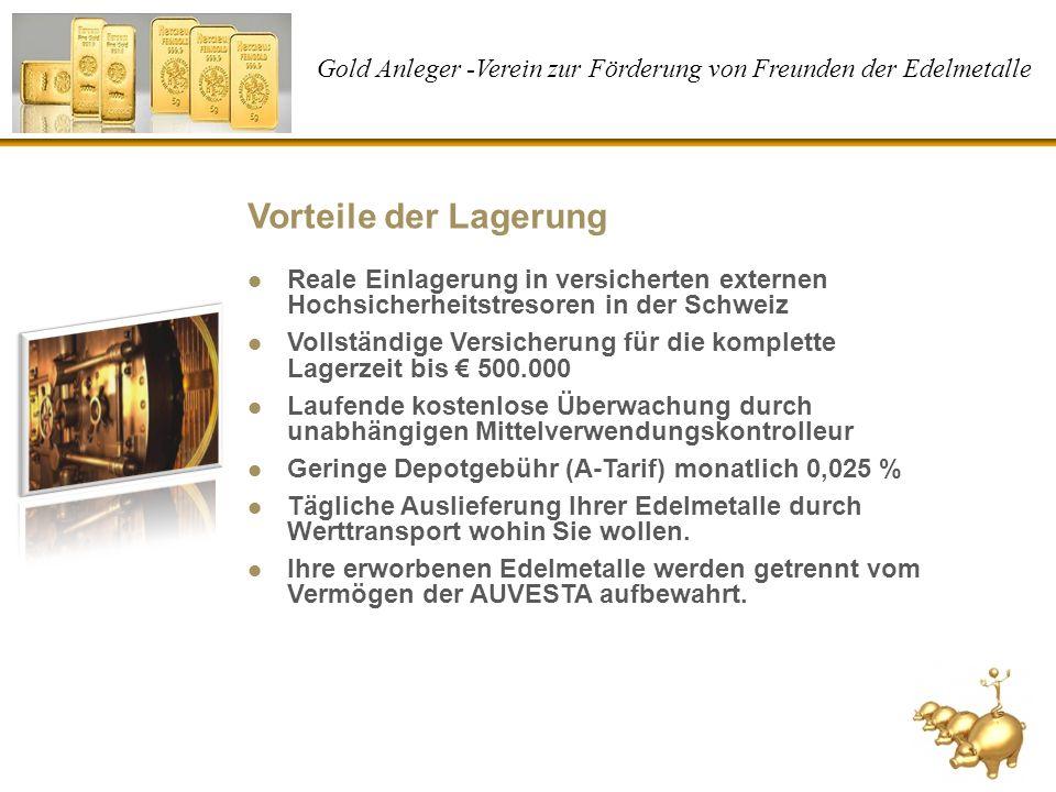 Gold Anleger -Verein zur Förderung von Freunden der Edelmetalle Vorteile der Lagerung Reale Einlagerung in versicherten externen Hochsicherheitstresor