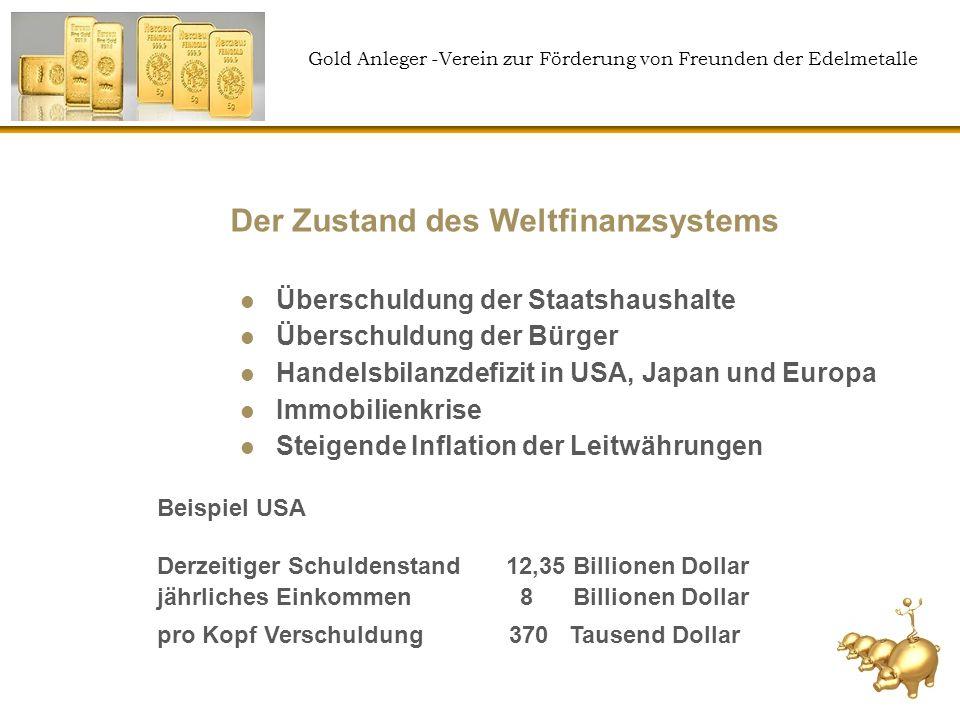 Gold Anleger -Verein zur Förderung von Freunden der Edelmetalle Der Zustand des Weltfinanzsystems Überschuldung der Staatshaushalte Überschuldung der