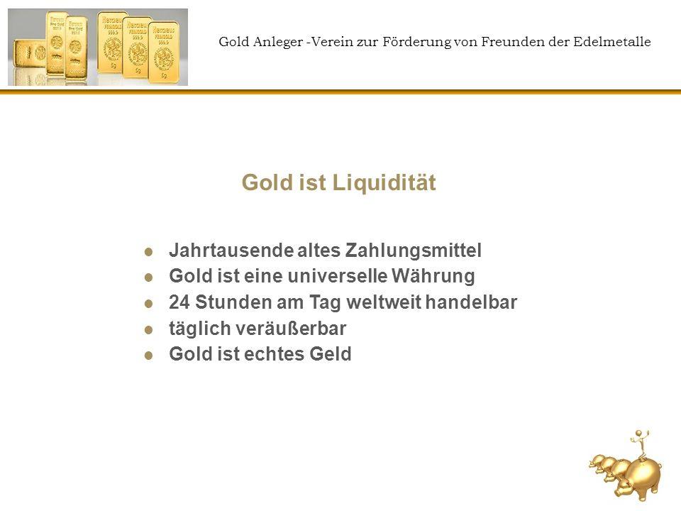 Gold Anleger -Verein zur Förderung von Freunden der Edelmetalle 50% Kaufkraftverlust in 10 Jahren durch Inflation Annahme: wahre Inflation 9% Verzinsung 3% Kaufkraftverlust p.a.: 6% 6% KK-Verlust p.a.