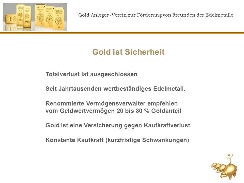 Gold Anleger -Verein zur Förderung von Freunden der Edelmetalle Das Edelmetall ist immer 100% real vorhanden 100% bankenunabhängig Sparvertrag mit Online- Einzeldepotverwaltung (kein Zertifikat oder Fonds) Preisvorteil bei kleiner Stückelung (1g) ca.