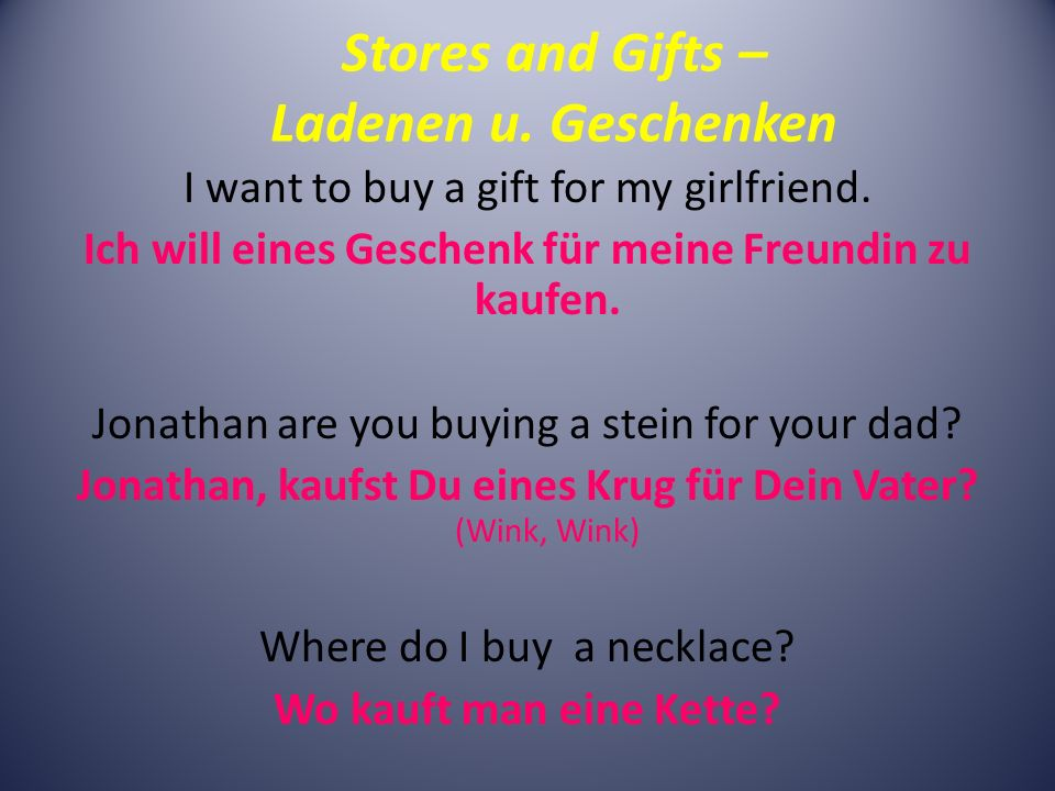 Stores and Gifts – Ladenen u.Geschenken I want to buy a gift for my girlfriend.