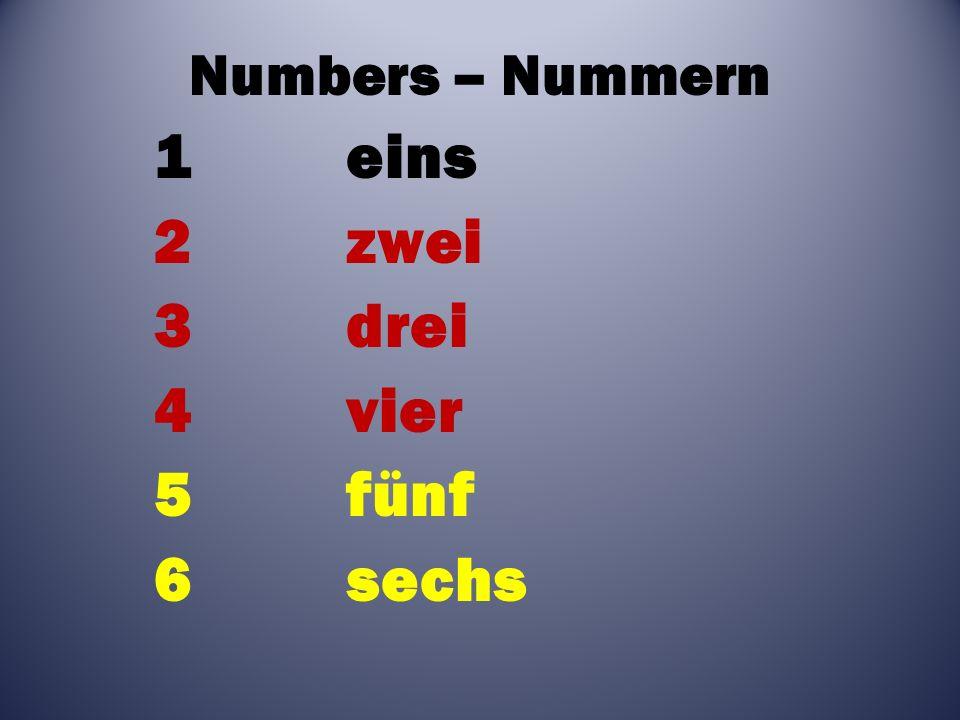 Numbers – Nummern 1eins 2zwei 3drei 4vier 5fünf 6sechs